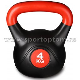 Гиря пластиковая INDIGO 4,0кг IN125 4 кг Черно-красный