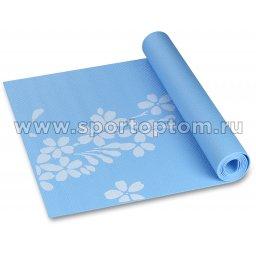 Коврик для йоги и фитнеса INDIGO PVC с рисунком Цветы YG03P голубой