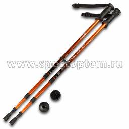 Палки для скандинавской  ходьбы телескопические INDIGO 001 IRAK Оранжево-черный пластмассовые ручки (1)