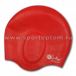 Шапочка для плавания силиконовая INDIGO анатомическя форма 407 SC Красный