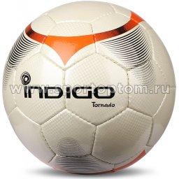 Мяч футбольный №5 INDIGO TORNADO матчевый (PU 1.5 мм Корея) C00 Бело-оранжевый