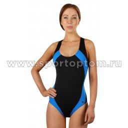 Купальник для плавания SHEPA слитный женский со вставками  009 Черно-голубой