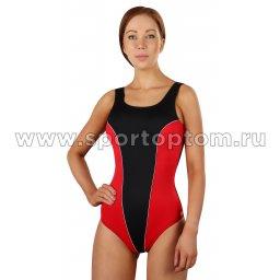 Купальник для плавания SHEPA  слитный женский со вставками 031 Черно-красный
