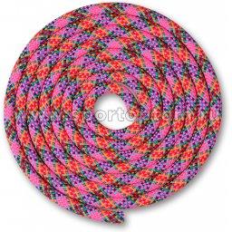 Скакалка для художественной гимнастики Утяжеленная 180 г INDIGO SM-360 3 м Розово-зелено-желто-красно-фиолетово-голубо-синий