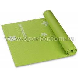 Коврик для йоги и фитнеса INDIGO PVC с рисунком Цветы  YG03P 173*61*0,3 см Зеленый