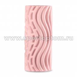 Ролик массажный для йоги INDIGO PVC Волна IN275 розовый (2)