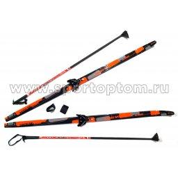 Лыжный комплект полупластиковый INDIGO CLASSIC (лыжи, 75 крепления, палки) 180 см Оранжевый