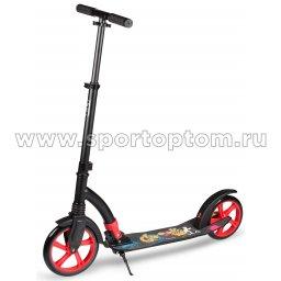 Самокат взрослый INDIGO GO до 100 кг, колеса 230/200 мм IN049 Черно-красный
