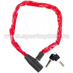 Вело Замок Golden Key Цепь (цветная оплетка)  GK-105.109 3,5см*1200мм Красный
