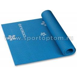 Коврик для йоги и фитнеса INDIGO PVC с рисунком Цветы  YG03P 173*61*0,3 см Синий