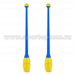 Булавы для художественной гимнастики вставляющиеся INDIGO (пластик,каучук) IN018 41 см Голубо-желтый