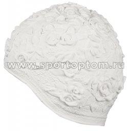 Шапочка для плавания INDIGO женская объемный рисунок Розы  IN083 Белый