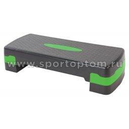 Степ-платформа для аэробики 2 уровня INDIGO 97301 IR 67*27*10/15 см Черно-зеленый