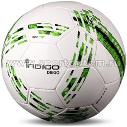 Мяч футбольный №5 INDIGO DIEGO любительский (PVC 1.2 мм) N001 Бело-зеленый