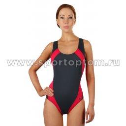 Купальник для плавания SHEPA совместный женский со вставками 009 Серый-цикламеновый (1)
