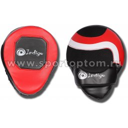 Лапа боксерская изогнутая INDIGO PU (пара)  250043 24*18*12 см Красно-черный