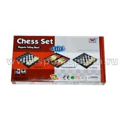 Игра 3 в 1 магнитная  (нарды, шахматы, шашки) 1012 LJ /09147            23*23 см