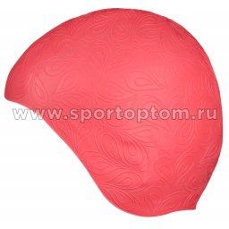 Шапочка для плавания INDIGO резиновая женская с рисунком  IN080 Розовый
