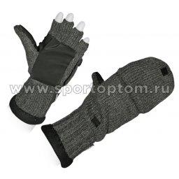 Рукавицы-перчатки (вяз, шер, флис подклад) 5215А Серый
