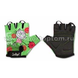 Перчатки вело детские INDIGO Котик SB-01-8875 Зеленый