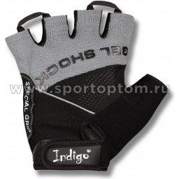 Перчатки для фитнеса INDIGO эластан,сетка,и/замша SB-16-1576 Серо-черный