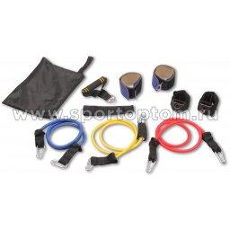 Эспандер в наборе 3 латексных жгута в дверной проем INDIGO SM-069 100 см Желтый, Красный, Синий