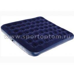 Кровать BW флокированная надувная 2-х местная 67004 203*183*22 см Синий