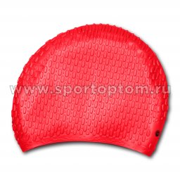 Шапочка для плавания силиконовая  длинные волосы рифленная INDIGO 707 SC Красный