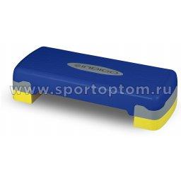 Степ платформа для аэробики 2 уровня INDIGO IN171 68*28*10/15 см Сине-желтый