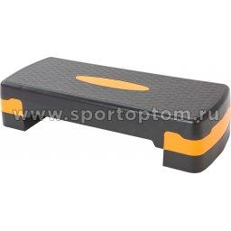 Степ-платформа для аэробики 2 уровня INDIGO 97301 IR 67*27*10/15 см Черно-оранжевый