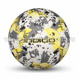 Мяч футбольный №3 INDIGO DANGER тренировочный (PU 1.2мм) Юниор IN032 Бело-серо-желтый