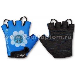 Перчатки вело детские INDIGO Ромашка SB-01-8887 2XS Голубо-белый