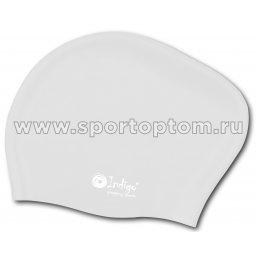 Шапочка для плавания силиконовая  длинные волосы INDIGO 809 SC Белый