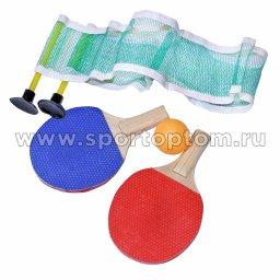 Набор для настольного тенниса MINI SET 2 звезды (2 ракетки, 1 шарик, сетка с креплением) 6001-AL