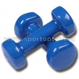 Гантели обливные с виниловым покрытием INDIGO 92005 IR 2,0кг*2шт Синий