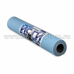 Коврик для йоги и фитнеса INDIGO TPE двусторонний IN106 Голубо-черный (2)