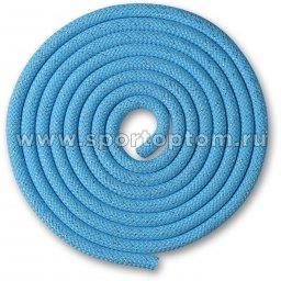 Скакалка для художественной гимнастики Утяжеленная 150 г INDIGO Люрекс SM-122 2,5 м Голубой-люрекс