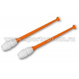 Булавы для художественной гимнастики вставляющиеся INDIGO IN017 36 см Оранжево-белый