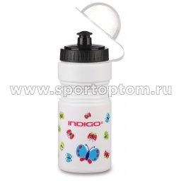 Вело Фляга детская  INDIGO BUTTERFLY с защитой от пыли IN035 Белый 550 мл (2)