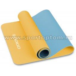 Коврик для йоги и фитнеса INDIGO TPE двусторонний IN106 желто-голубой (1)