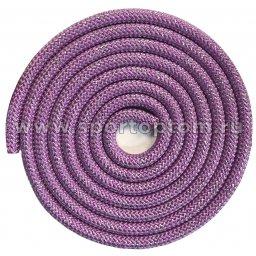 Скакалка для художественной гимнастики Утяжеленная 180 г INDIGO Люрекс SM-124 3 м Сиреневый-люрекс