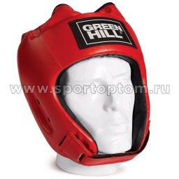 Шлем боксёрский Green Hill ALFA и/к, двойное крепление   HGA-4014 Красный