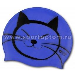 Шапочка для плавания силиконовая  INDIGO детская Котик SCCT503 Синий