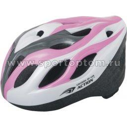 Вело Шлем подростковый SENHAI PW-910-09 58-60 Бело-серо-розовый