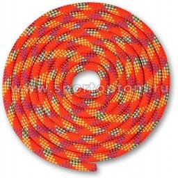 Скакалка для художественной гимнастики Утяжеленная 180 г INDIGO SM-360 3 м Кораллово-фиолетово-лимонный