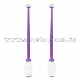 Булавы для художественной гимнастики вставляющиеся INDIGO IN018 41 см Фиолетово-белый