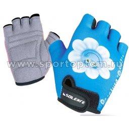 Перчатки вело детские Ромашка INDIGO  SB-01-8887 Голубо-белый