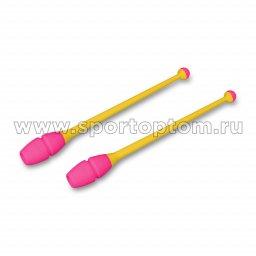 Булавы для художественной гимнастики вставляющиеся INDIGO Желто-розовый (3)