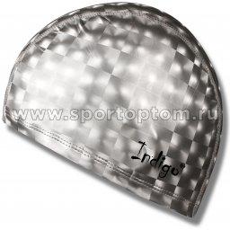 Шапочка для плавания  ткань прорезиненная с эффектом 3D INDIGO  IN047 Серый металлик