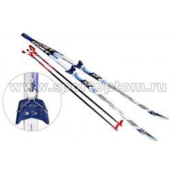 Лыжный комплект полупластиковый STC (лыжи, комбинированные крепления, палки) CA-023 140 см